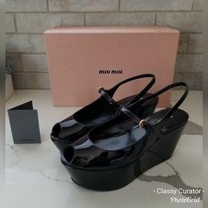 MIU MIU black patent leather platform peeptoes
